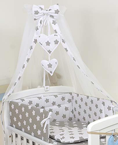 10 Piezas Juego de Ropa de Cama para Cuna 140 x 70 cm bebé Edredón Dosel Protector Estrella Gris
