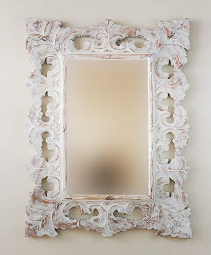 Rococo Espejo Decorativo de Madera Colonial Classic de 60x80cm en Blanco decapado