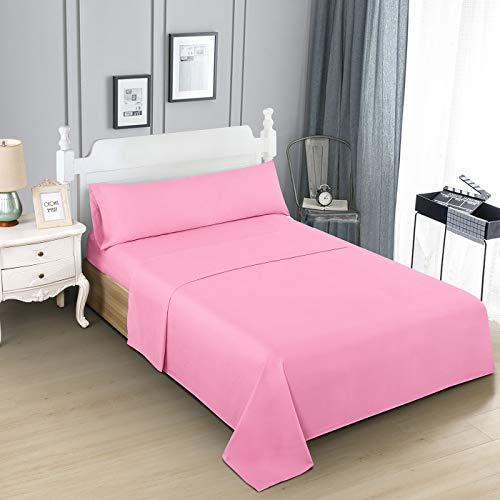 Dalina Textil Juego de Sábanas para Cama 3 Piezas - 1 Sábanas Bajera Ajustable Cama 90cm con Encimera 165x260cm y 1 Funda de Almohada Larga ( Cama de 90x190-200cm Rosa)