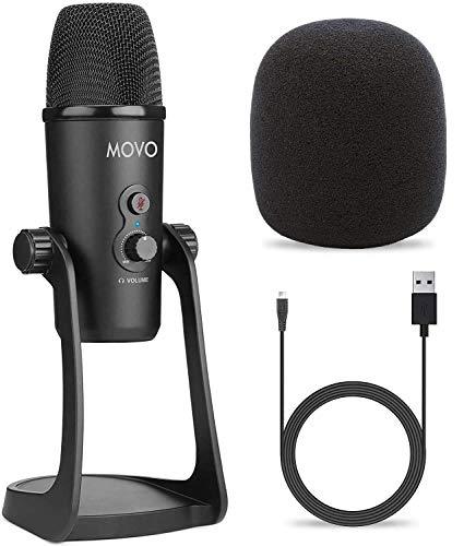 Movo UM700 - Microfono USB da scrivania per computer con modelli di pickup regolabili, perfetto come microfono podcast, microfono in streaming, microfono da gioco e altro ancora