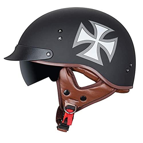 SPOTOR Retro Motocicleta Half-Helmet Cruiser Chopper Scooter Casco con Visera ABS Plastico...