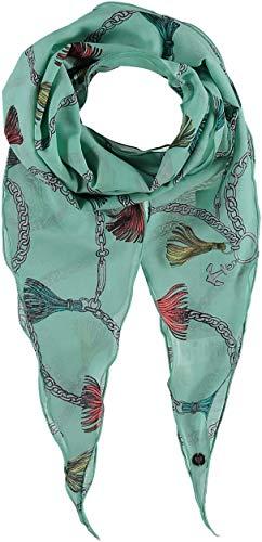 FRAAS Damen Schal aus 75% Wolle und 25% Seide - 40 x 160 cm Größe - Wollschal/Seidenschal Maritimer-Print - Perfekt für Frühling & Sommer Hellgrün