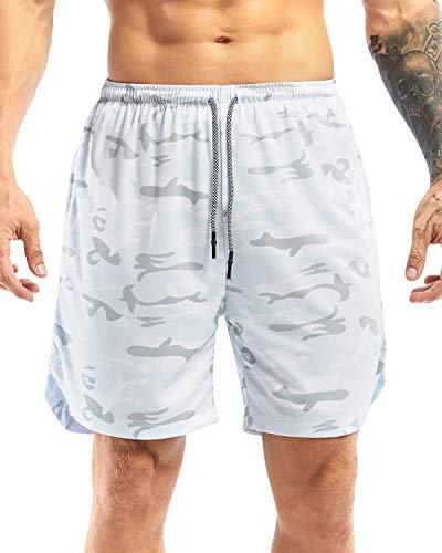 Yidarton Pantalones cortos deportivos para hombre, 2 en 1, de secado rápido, para correr, fitness, correr y entrenamiento, con bolsillo Diseño de camuflaje blanco 334. XXL