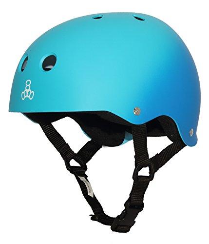 Triple Eight Sweatsaver Liner Skateboarding Helmet, Blue Fade Rubber, Small