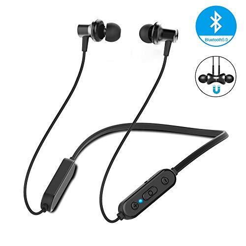 Beyeah Bluetooth In-Ear Sport Kopfhörer, IPX5 Wasserdicht Metall Sport Kopfhörer, In Ear Kopfhörer mit Mikrofon für IOS und Android Smartphones(Schwarz)