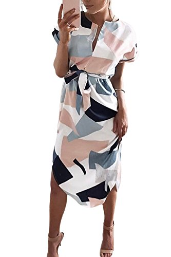 YOINS Damen Sommerkleid Lang V-Ausschnitt Maxikleider Strandkleid Strandmode, Weiß, Gr.- EU 46/ Herstellergröße- XL