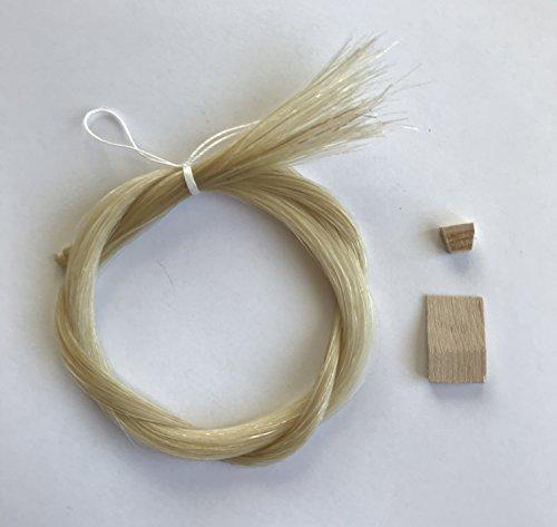 MI&VI Mongolian Horse Hair for Violin, Viola Bows - Unbleached, White 29.5' (1 Hank, Prepared, Includes Plug and Wedge) (1 Hank)