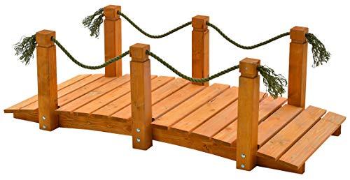 GASPO Teichbrücke | Gartenbrücke aus massivem Kiefernholz | 152 x 67 x 50 cm | Qualität aus Österreich | einfaches Bausatzsystem