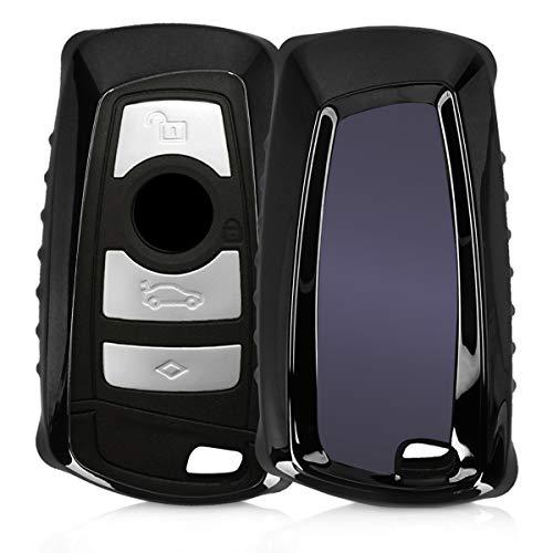 kwmobile Autoschlüssel Hülle kompatibel mit BMW 3-Tasten Funk Autoschlüssel (nur Keyless Go) - TPU Schutzhülle Schlüsselhülle Cover in Hochglanz Schwarz