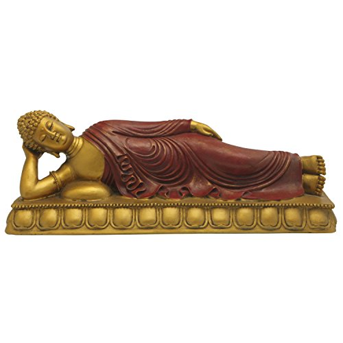 Reclining Buddha Statue with Gold Details, 13 Inches