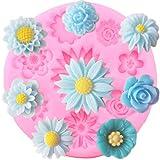 ZHQJY Moldes de Silicona 3D Rose Daisy DIY Flor Cupcake Topper Herramientas de decoración de Pasteles de Boda Candy Clay Chocolate Gumpaste Molde