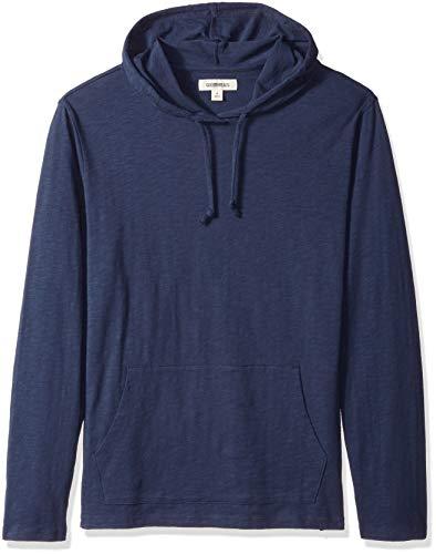 Goodthreads Men's Lightweight Slub T-Shirt Hoodie, Navy, Large