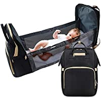 Dilmi 3 in 1 Foldable Baby Bed Diaper Bag (Black)
