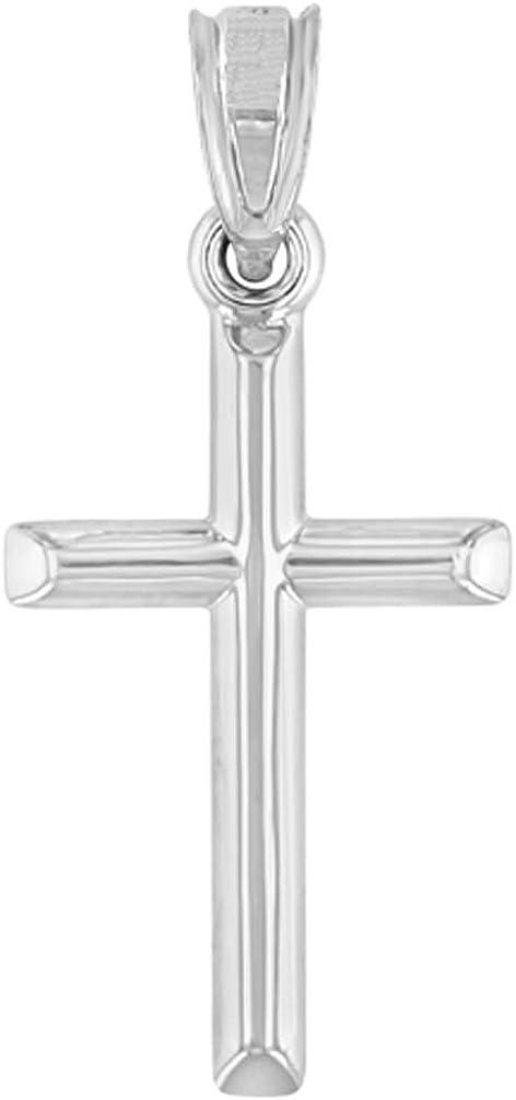 14K White Gold Classic Latin Plain Mini Cross Charm Pendant
