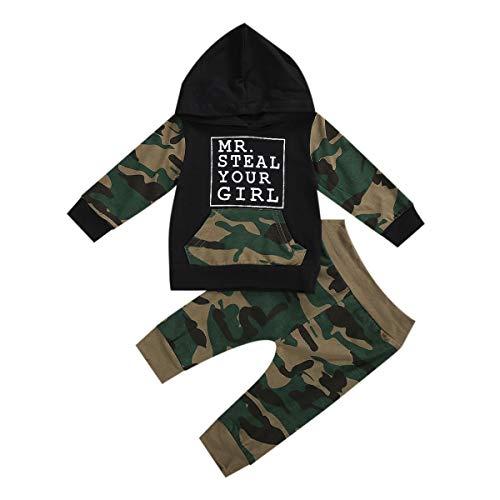 Completo per neonato e ragazza, con cappuccio e pantaloncini, a maniche lunghe, mimetico, per autunno e inverno. Camouflage-noir 0-6 Mesi