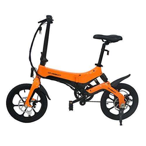 ONEBOT 16-Zoll Klappbare E-Bike 36V 6,4 Ah 250 W 25 km/h Dämpfung Elektrofahrräder Einstellbares leichtes E-Bike zur von Rahmen aus Magnesiumlegierung für das Pendeln von Erwachsenen, Reisen orange