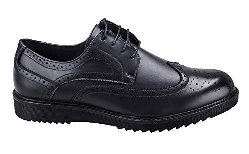 Evoga Scarpe parigine uomo casual eleganti calzature francesine man's shoes (42, nero)