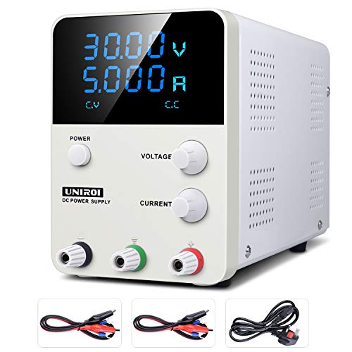 DC Power Supply Variable, Switching DC Regulated Power Supply with 4 Digital LCD Display (0-32V/0-5.2A), Reverse Polarity/High Temperature Protection, 115V/115CM Alligator Leads Included