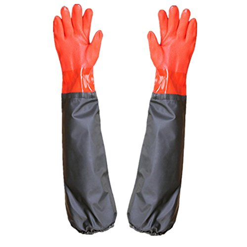 Waterproof Industrial Thickening PVC Gloves, Rubber Oil Resistant And Antiskid gloves,Gardening, Fishing gloves, Long gloves,large gloves