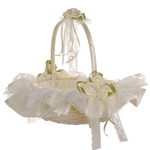 huangThroStore Hochzeitskorb aus Bambus, mit Spitze, Satin, Hochzeit, Blumenkorb für Mädchen, romantische Schleife, Dekoration, Brautzubehör