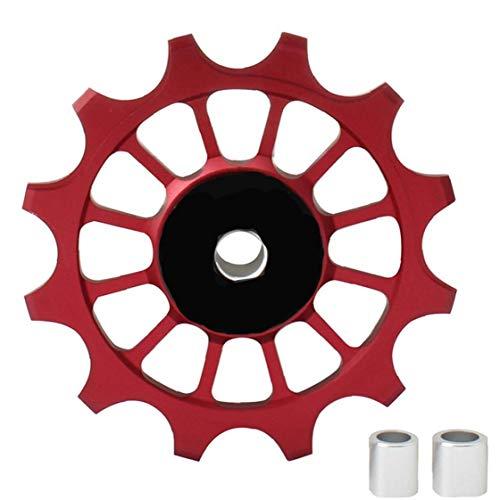 Sanfiyya 12T Jockey Wheels Cambio Trasero Polea de aleación de Aluminio de Rodillos de cojinete de Rueda de cerámica para la Carretera Bicicleta de montaña roja