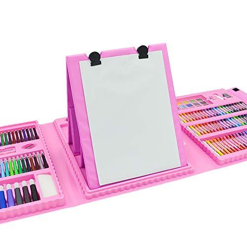 218 Sets von Kindern Zubehör für Zeichnung Zeichnung und Malerei Tragbare Kunst Box Zeichnen und Skizzieren Kunst-Ausrüstung mit Acrylfarbe Bleistift Kindern Erwachsener Sketching Vorstandes Pink