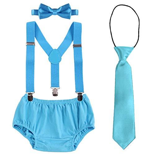 Fymnsi Baby-Kostüm für Jungen, Kuchen-Outfit, Kleinkind, zum 1. / 2. / 3. Geburtstag, Foto-Shooting-Kostüm, Windelhose, Hose, Strapse, Fliege, Krawatte, 4-teiliges Set Gr. 6-12 Monate, Blau
