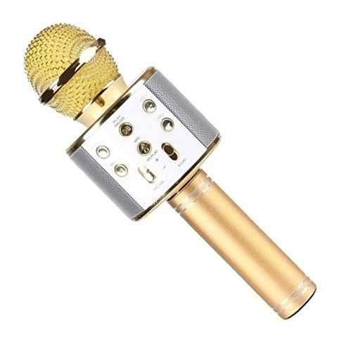 HOPEMOB Micrófono Inalámbrico de Bluetooth Micrófono Karaoke Player Micrófono Color Gold para KTV Karaoke Player Compatible con PC/iPhone/Android/Smartphone (Dorado)