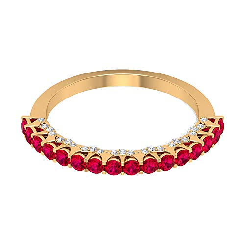 Rosec Jewels 10 quilates oro amarillo redonda round-brilliant-shape H-I Red Diamond Ruby Lab creado