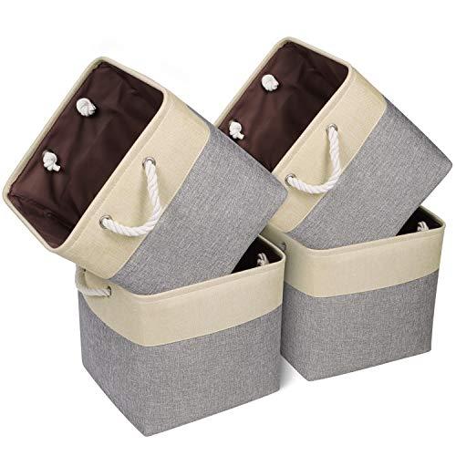 "Univivi Collapsible Storage Bins Basket 4-Pack with Strong Handles Fabric Storage Bin Organizer Basket Works As Organizing Shelf Office Closet Extra Large 13""X13""X13"""