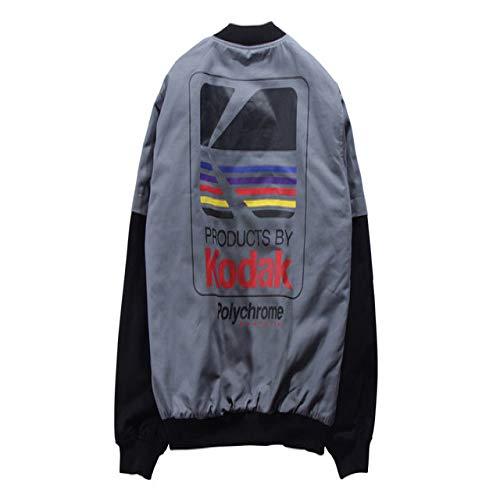 HNOSD Japanische Hip Hop Stil Bomberjacke Harajuku Pilot Street Druck Kodak Jacken Männer Frauen Mantel Kleidung Grau XXL