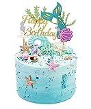 SONSMER - Decoración para tarta de sirena, diseño de sirena, ideal para decoración de tartas de cumpleaños, decoración para tarta de sirena