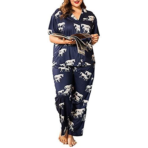 tmtonmoon Pijama de manga corta/larga, pantalones largos, sexy, conjunto de pijamas de algodón con botones, ropa de dormir para primavera y verano, talla grande para mujer Short 2 4XL