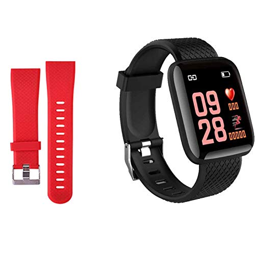 Smartwatch Fitness Armband Voll Touchscreen Wasserdicht, Unisex Smart Watch für Android IOS, Fitness Uhr mit Pulsmesser Schlafmonitor Stoppuhr Musiksteuerung,Sportuhr Aktivitätstracker (Schwarz rot)