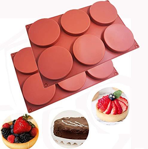 6 stampi rotondi in silicone per torte, 2 pezzi, antiaderenti, per dolci, caramelle, sapone, resina epossidica, progetti creativi