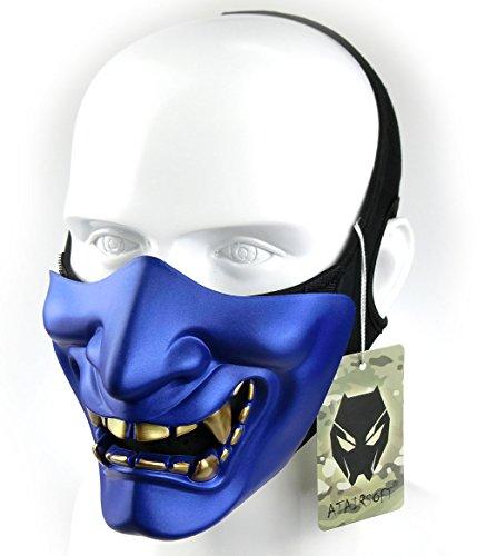 Atairsoft Máscara para disfraz de halloween, cosplay, BB, demonio, diablo, monstruo, kabuki, samurái, hannya, oni, máscara que cubre la mitad de la cara, para airsoft, películas, Azul