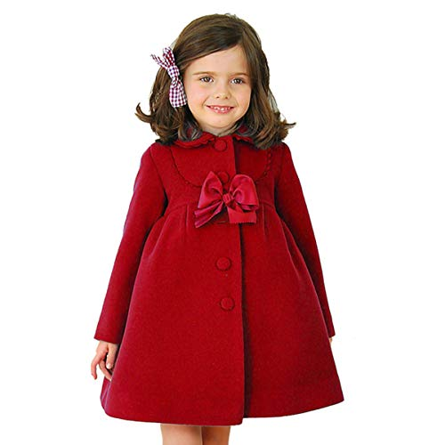 2-7T Toddler Girls Trench Coat Windbreaker Winter Warm Jacket Overcoat Cloak (2-3T, Red)