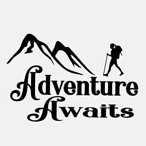 Schwarz brief art Wandaufkleber-Abenteuer Erwartet Decal Camper Stiefel Trail Schlafsack Art Home Pvc Wandaufkleber