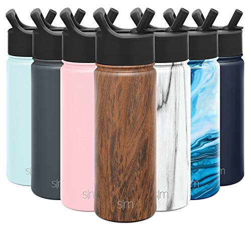 Simple Modern Insulated Water Bottle with Straw Lid Reusable Wide Mouth Stainless Steel Flask Thermos, 18oz, Pattern: Wood Grain