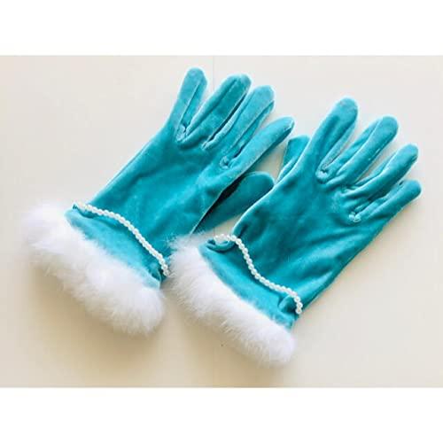 品 ブルーのファー付き手袋 パーティーに