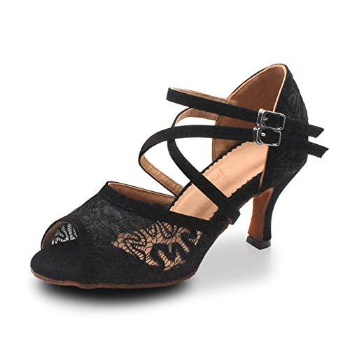 Jerilla Tanzschuhe Damen Standard und Latein für Innen Tanzen Anti-Rutsch Ballsaal Schuhe Schwarz