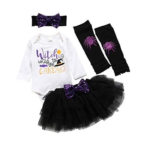 Outfits Clothes for 18-24 Months Boy and Girl, Newborn Baby Kids Girls Halloween Print Romper Tops Solid Tutu Skirt Set Outfits, Girls Outfits&Set (White 18-24 Months)
