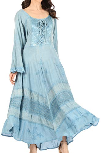 Sakkas 15223 - Mirabel Stonewashed Corset Style Floral Emboridery Kimono Sleeve Dress - Babyblue - 1X/2X