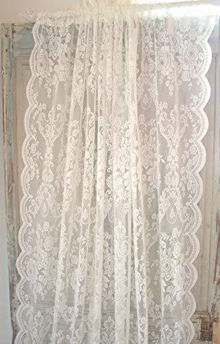 LillaBelle Offwhite Lucia Vorhang Spitzen Gardine Rosen 120x240 cm 2 Stück Gardinenshals Landhaus Shabby Vintag