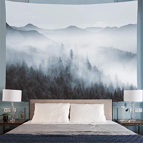 Tapiz con diseño de bosque neblinoso y árboles de bosque con tapiz de montaña, fantástico tapiz mágico de niebla, visión 3D, paisaje natural, para recámara
