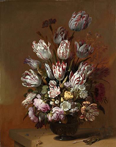 Hans Bollongier, Stilleven met bloemen 60x90cm, Rijksmuseum, premium print, print op canvas, oude meester - Muurdecoratie
