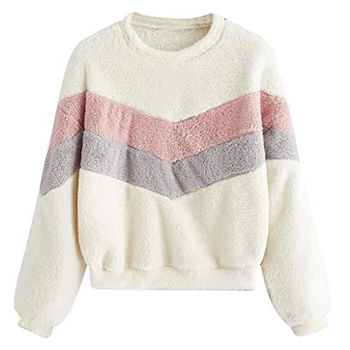 KPPONG Pullover Damen Teddy-Fleece Rundkragen Sweatshirt Patchwork Plüsch Pulli Warm Winterpullover Outwear