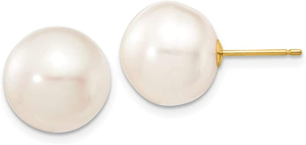 14k Yellow Gold 12mm White Button Freshwater Cultured Pearl Stud Post Earrings Ball Fine Jewelry For Women Gifts For Her