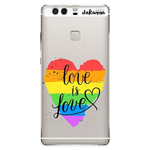 dakanna Funda para Huawei P9 Plus | LGBT Corazón Frase Just Love | Carcasa de Gel Silicona Flexible | Fondo Transparente