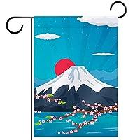 ウェルカムガーデンフラッグ(12x18inch)両面垂直ヤード屋外装飾,日本の富士山